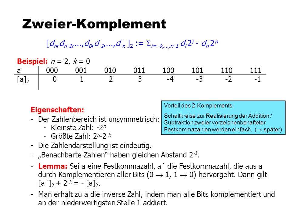 Zweier-Komplement [dn,dn-1,...,d0,d-1,...,d-k ]2 := Si= -k,...,n-1 di 2i - dn 2n. Beispiel: n = 2, k = 0.